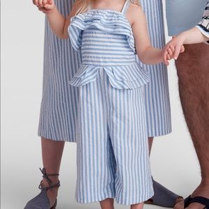 Blue and white striped ruffle jumpsuit, 2T